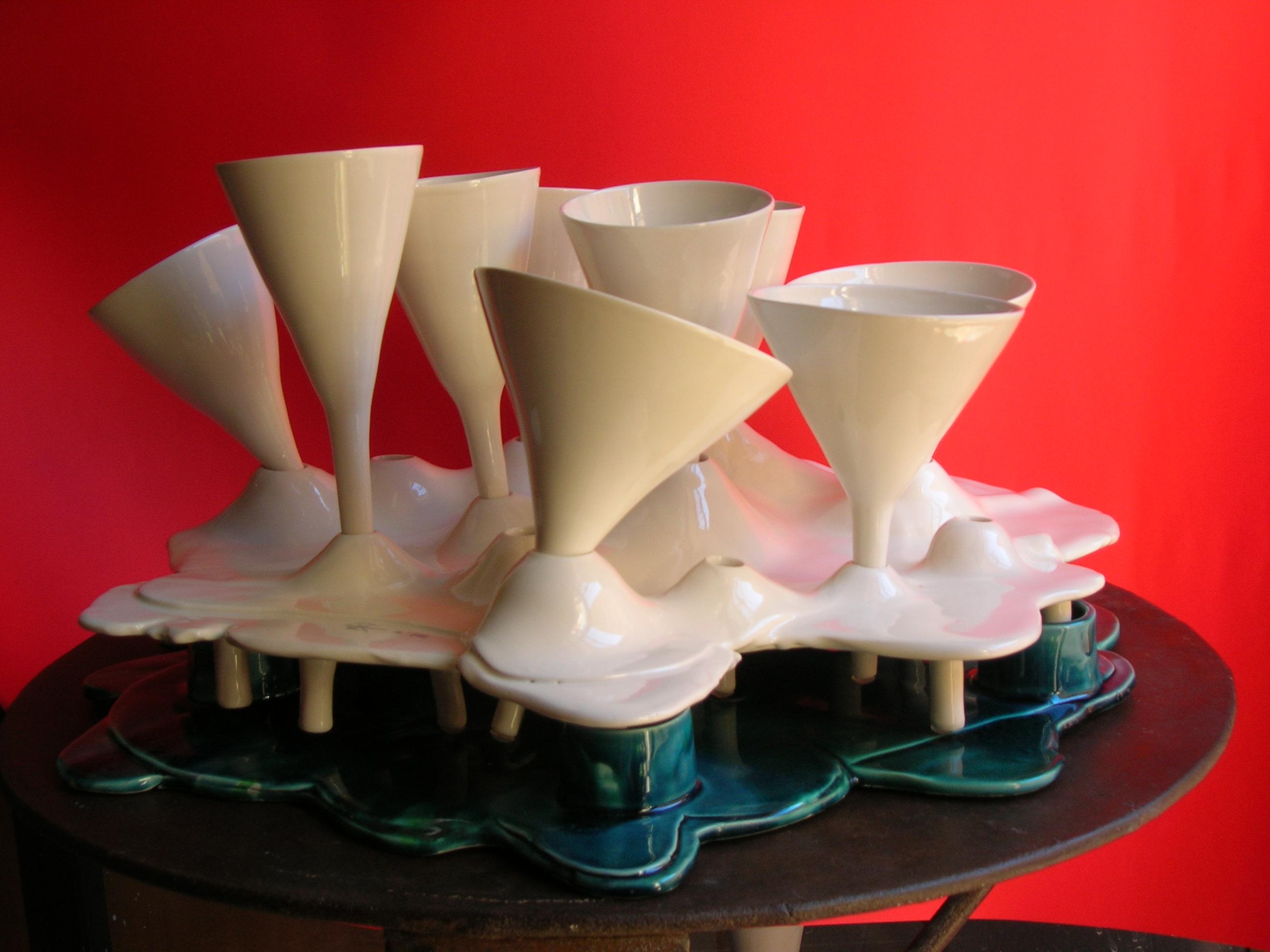 GEYSER scultura-vassoio con calici estraibili